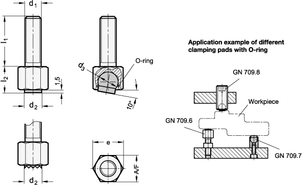 GN 709.6 Almohadillas de sujeción, ajustables boceto