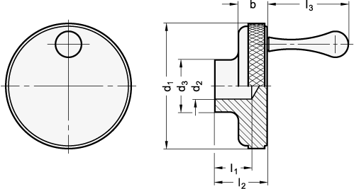 ALCK Perillas de control de aluminio con o sin mango fijo boceto