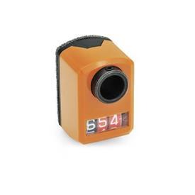 EN 955 Indicadores de posición mini digitales de plástico, pantalla de 3 dígitos Instalación (vista anterior): FR - en el frente, abajo<br />Color: OR - Naranja, RAL 2004
