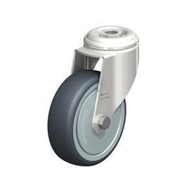 LKRXA-TPA Rodajas giratorias de acero inoxidable de servicio ligero, con ruedas de caucho termoplástico y ajuste con agujero para perno, serie de soportes pesados  Type: KD-FK