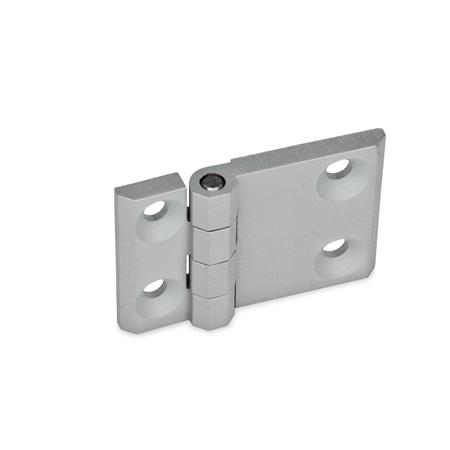 GN 237 Zinc Die-Cast Hinges with Extended Hinge Wing Werkstoff: ZD - Zinc die-cast Type: A - 2x2 bores for countersunk screws Finish: SR - Silver, RAL 9006, textured finish