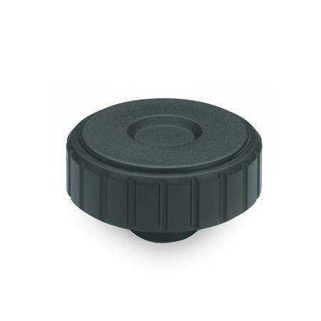 EN 4534 Technopolymer Plastic Softline Knurled Knobs, with Tapped Insert