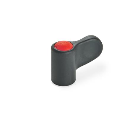 EN 635 Tuercas de mariposa simples Ergostyle® de plástico tecnopolímero, con inserto roscado Color del tapón: DRT - Rojo, RAL 3000