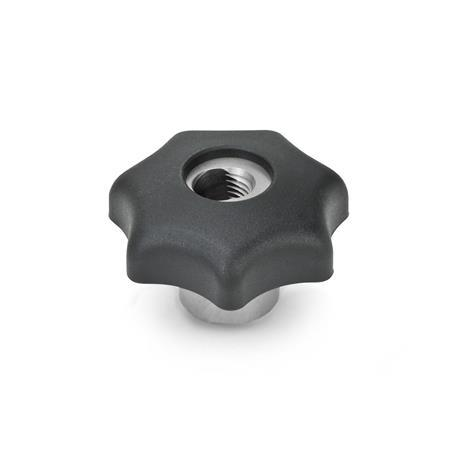 GN 6336.3 Nylon Plastic, Quick Release Star Knobs, with Stainless Steel Hub