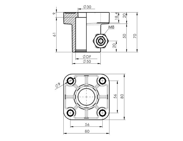 AN 310 Support Heads Square Base, for 38 mm Tubing  sketch
