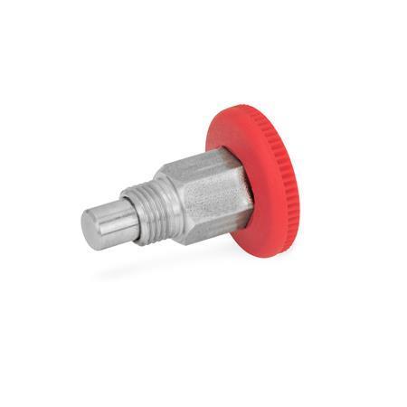 GN 822.1 Miniposicionadores de indexado de acero / acero inoxidable, con bloqueo y sin bloqueo, con mecanismo de cierre abierto, con perilla roja Tipo: B - Sin bloqueo Material: NI - Acero inoxidable Color: RT - Rojo, RAL 3000
