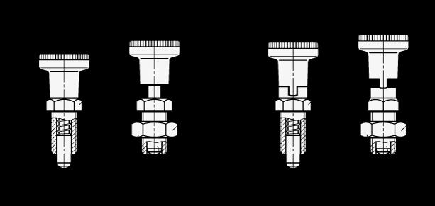 EN 617.2 Posicionadores de indexado de plástico, pasador del posicionador de acero inoxidable, tipos con bloqueo y sin bloqueo boceto
