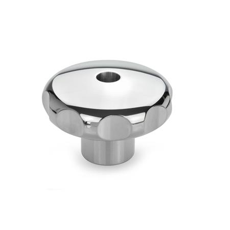 GN 5335 Stainless Steel highly polished finish, Star Knobs, Tapped, Blind Bore Type Type: D - With tapped through bore