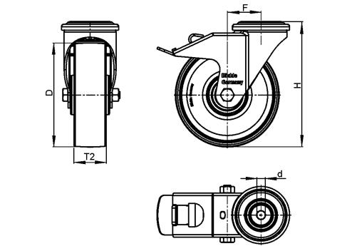 LRA-POA Rodajas giratorias de acero con ruedas de nylon negro,montaje con agujero para perno o vástago roscado, serie de soportes estándar boceto