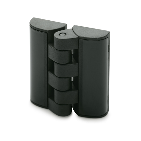 EN 151.3 Technopolymer Plastic Hinges, With Countersunk Screw Mounting Holes and Cover Plates
