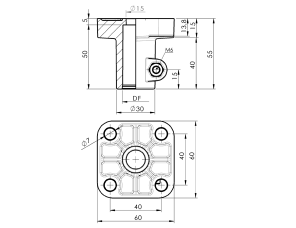 AN 315 Support Heads Square Base, for 20 mm Tubing  sketch
