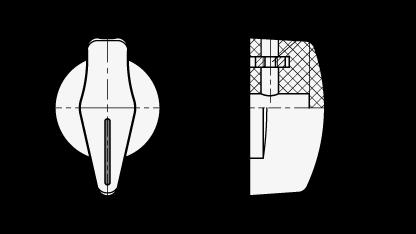 MRI Perillas selectoras de plástico fenólico, con orificio ciego y tornillo prisionero boceto