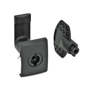 EN 115.5 Mecanismos de bloqueo de plástico para puertas, para montaje de ajuste a presión Tipo: VDE - Funcionamiento con doble paleta (VDE5)<br />Acabado: SW - Negro, RAL 9005, acabado texturizado<br />Identificación núm.: 2 - Alojamiento de cerradura con tope, rectangular con agarradera