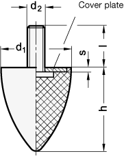 GN 353.1 Soportes de absorción de vibración/impacto, de tipo cónico, con componentes de acero boceto