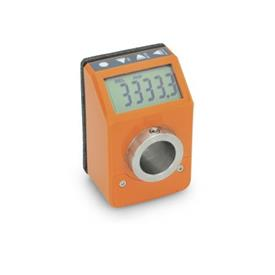 EN 9053 Position indicators, electronic, with LCD-Display (digital indication), 6 digits Color: OR - Orange, RAL 2004