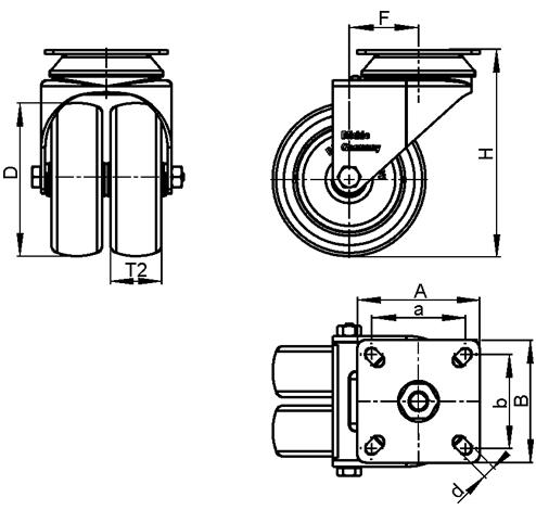 LDA-VPA Rodajas giratorias de acero zincado con ruedas gemelas de caucho gris de servicio medio con placa de montaje boceto