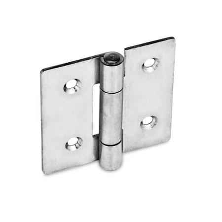 GN 136 Stainless Steel Sheet Metal Hinges, With Bores for Cylinder Head Screws or Countersunk Screws Material: NI - Stainless steel<br />Type: C - With countersunk holes