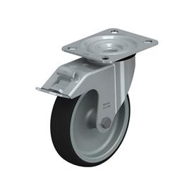 LE-PATH Rodajas giratorias de acero con banda de poliuretano de servicio medio, con placa de montaje Type: G-FI - Cojinete liso con freno «stop-fix»