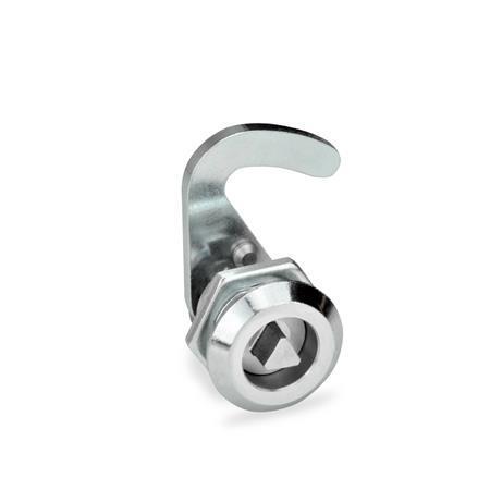 GN 115.8 Pestillos tipo gancho de zinc fundido a presión, funcionamiento con llave Anillo de posición de acabado: CR - Acabado cromado<br />Tipo: DK - Funcionamiento con eje triangular (DK7)<br />Identificación núm.: 1 - sin soporte de cerradura