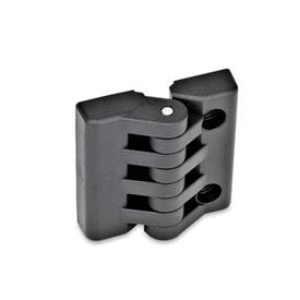 EN 151 Plastic Hinges, Miscellaneous Mounting Types Type: H - 2x threaded blind bores /2x bores for socket head cap screws