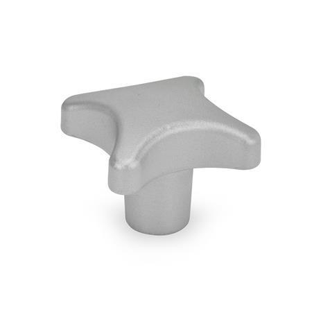 DIN 6335 Perillas manuales de acero inoxidable, orificio pasante roscado u orificio pasante ciego Tipo: E - Con orificio ciego roscado