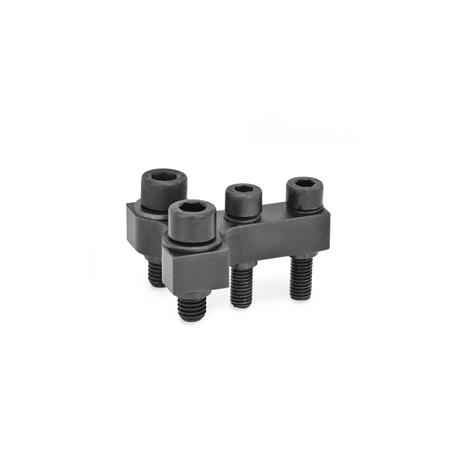 GN 868 Steel, T-Coupling / Double Post Coupling Accessories for pneumatic fastening clamps GN 864 / GN 865 / GN 866 Type: R - Jaw block at right angle to clamping arm