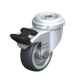 LRA-TPA Rodajas giratorias de acero de servicio ligero con ruedas de caucho termoplástico, y ajuste con agujero para perno  Type: G-FI - Cojinete liso con freno «stop-fix»