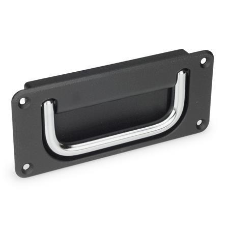 GN 425.8 Jaladeras abatibles con base embutida de acero o acero inoxidable Material de jaladera: CR - Acero cromado<br />Acabado de base: SW - Negro, RAL 9005, acabado texturizado