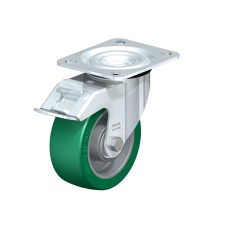 L-ALST Steel Pressed Aluminum Swivel Casters, with Medium Duty Brackets Type: K-FI - Ball Bearing with Stop-Fix Brake