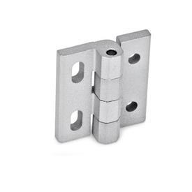 GN 235 Bisagras de zinc fundido a presión, ajustables Material: ZD - Zinc fundido a presión<br />Tipo: DH - Con agujeros pasantes<br />Acabado: SR - Plateado, RAL 9006, acabado texturizado