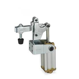 GN 862 Abrazaderas neumáticas de acero, con base de montaje vertical, con pistón magnético Tipo: CPV3 - Versión de barra en U, con dos arandelas bridadas y montaje de husillo GN 708.1