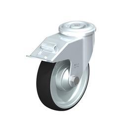 LER-PATH Rodajas giratorias de acero con banda de poliuretano, ajuste con agujero para perno Type: K-FI - Cojinete de bolas con freno «stop-fix»