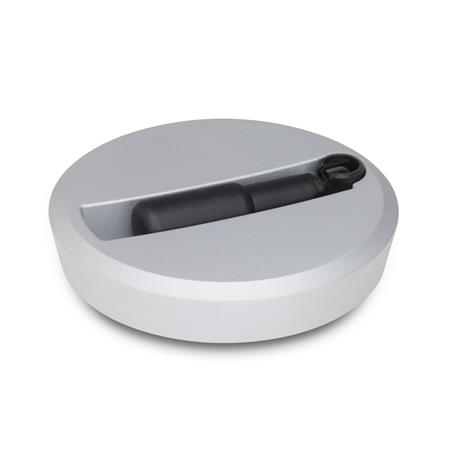 GN 923.7 Aluminum Flat-Faced Solid Disk Handwheels, with Recessed Safety Retractable Handle Color: SR - Silver, RAL 9006, textured finish