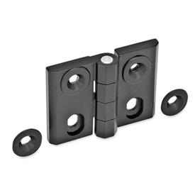 GN 127 Zinc Die-Cast Adjustable Alignment Hinges, With Alignment Bushings Type: H - Vertical slots