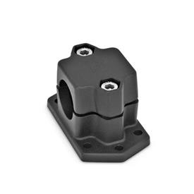 GN 147.3 Aluminum Flanged Connector Clamps, Split Assembly, with 6 Mounting Holes Finish: SW - Black, RAL 9005, textured finish