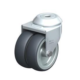 LMDA-TPA Rodajas giratorias de acero de servicio ligero, con ruedas gemelas de caucho termoplástico y ajuste con agujero para perno, serie de soportes estándar  Type: G - Cojinete liso