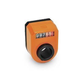 EN 953 Indicadores de posición digitales de plástico, pantalla de 5 dígitos Instalación (vista anterior): FN - en el frente, arriba<br />Color: OR - Naranja, RAL 2004