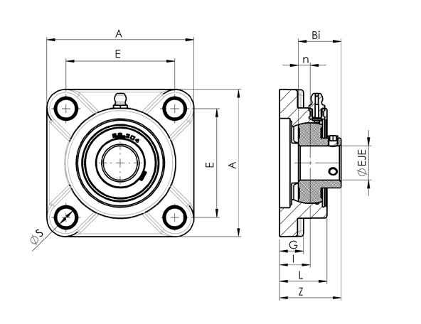 AN 7870 Square Flange Bearing Plain with Through Hole Bearing, with Closed Cap, or with Open Cap  sketch