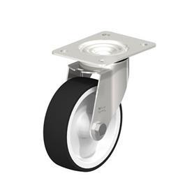 LEX-POTH Rodaja giratoria de acero inoxidable con rueda con banda de poliuretano, con placa de montaje Type: G - Cojinete liso