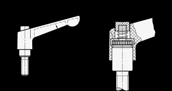 WN 303 Palancas ajustables de nylon plastificado, con botón pulsador, tipo con espárrago roscado, con componentes de acero boceto