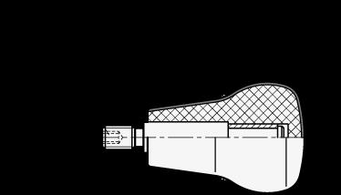 EN 597.1 Perillas giratorias con forma de hongo de plástico tecnopolímero Softline con espárrago roscado boceto
