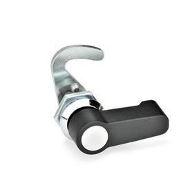 GN 115.8 Pestillos tipo gancho de zinc fundido a presión, operación con diferentes componentes, no bloqueables Tipo: HG - Funcionamiento con palanca<br />Identificación núm.: 1 - sin soporte de cerradura<br />Anillo de posición de acabado: CR - Acabado cromado