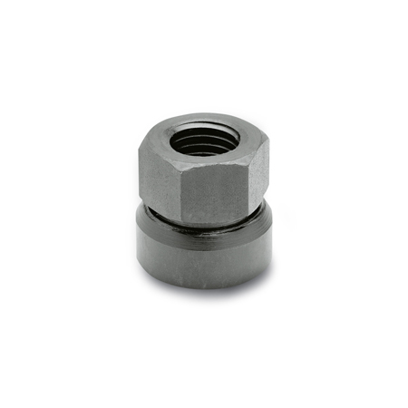 GN 347 Steel Swivel Hexagon Nuts, With Tapped Through Socket
