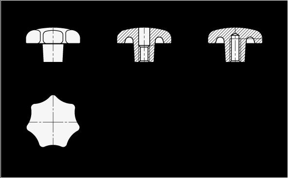 DIN 6336 Perillas de estrella de acero inoxidable, orificio pasante roscado u orificio pasante ciego boceto