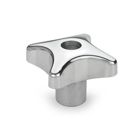DIN 6335 Perillas manuales de aluminio, con orificio roscado o ciego Tipo: D - Con orificio pasante roscado<br />Acabado: PL - Pulido