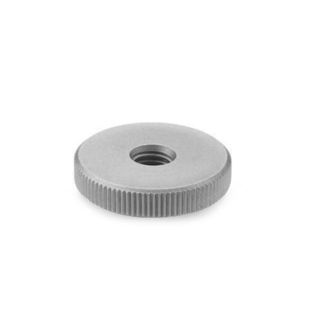 DIN 467 Stainless Steel Flat Knurled Nuts, with Tapped Through Holes