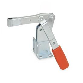 GN 812 Steel Vertical Acting Toggle Clamps, Steel, with Dual Flanged Mounting Base Type: EV - Solid bar version, with clasp