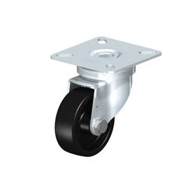LPA-POA Rodajas giratorias de acero con rueda de nylon negro, con placa de montaje, serie de soportes estándar Type: G - Cojinete liso
