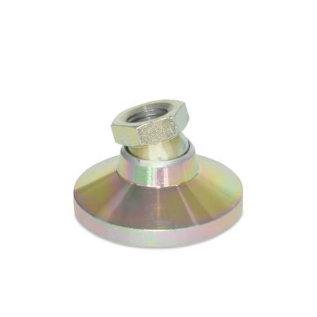 """LPSO Inch Thread """"LEVEL-IT""""™ Leveling Mounts, Steel Tapped Socket Type Material: A1 - Steel Socket and Steel Base Yellow Zinc Plated"""