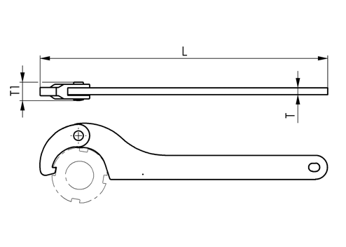 NO.775NI Stainless Steel Hinge-Type Hook Spanners with Nose End sketch